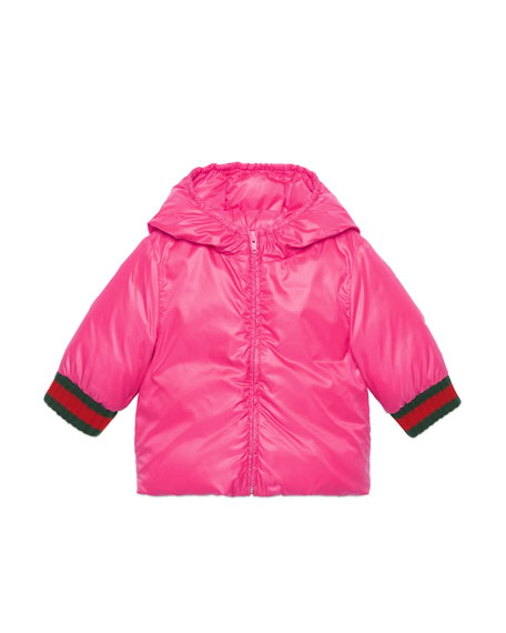 Gucci Quilted Vintage Logo Hooded Jacket w/ Web Knit Cuffs, Size 24-36 Months