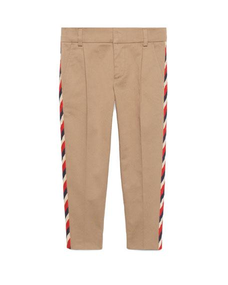 Gucci Stretch Gabardine Sylvie-Trim Pants, Size 4-12