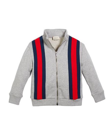 Gucci Zip-Front Web-Trim Jogging Jacket, Size 4-12