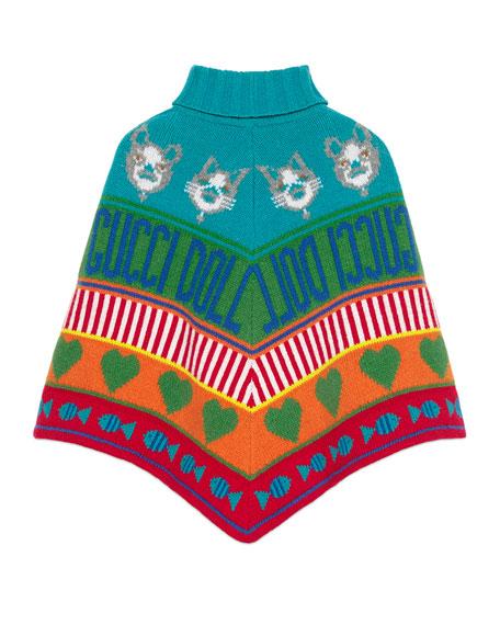 Rainbow Mixed-Jacquard Wool Poncho, Size 4-12