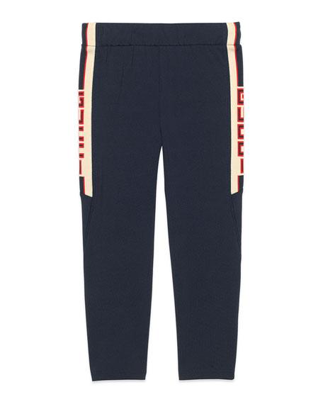 Technical Jersey Leggings w/ Logo Jacquard Sides, Size 4-12