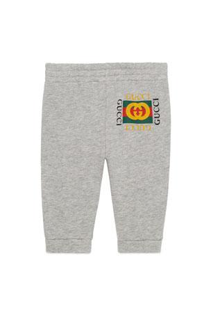Gucci Jersey Jogger Pants w/ Vintage Logo, Size 3-36 Months
