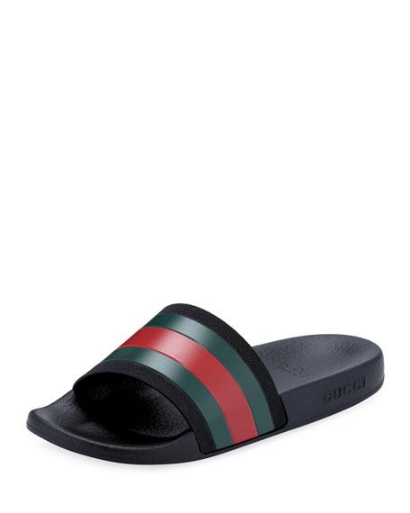 Gucci Pursuit Web Rubber Slide Sandals, Kids