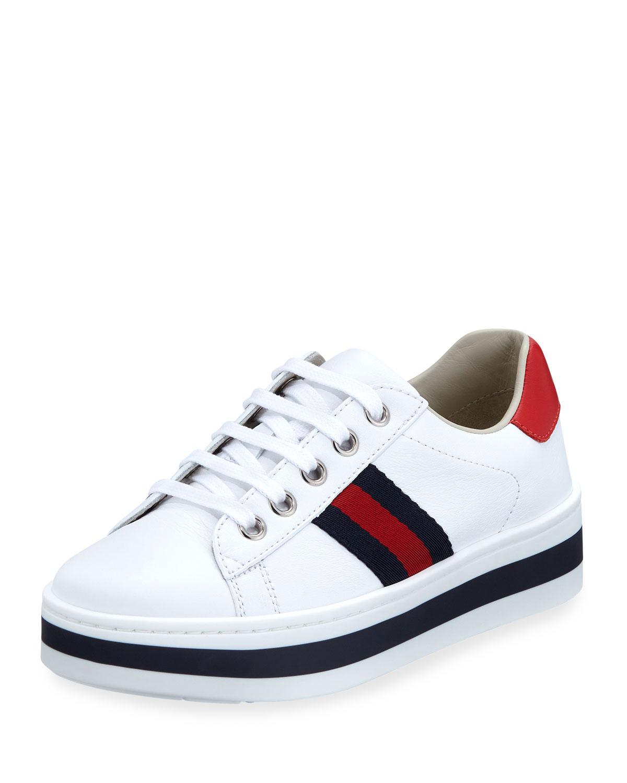 5d2fc1f77 Gucci New Ace Web-Trim Leather Platform Sneakers, Kids | Neiman Marcus