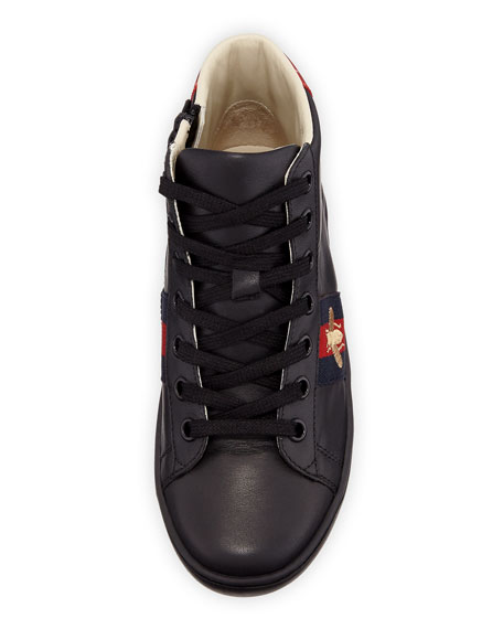 Gucci New Ace Leather High-Top Sneakers, Kids