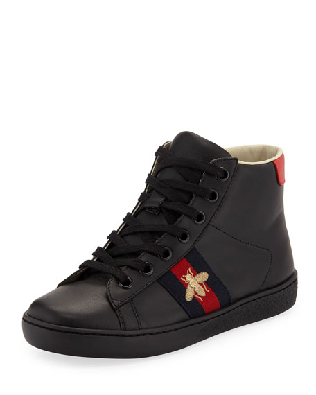 Gucci New Ace Leather High-Top Sneakers