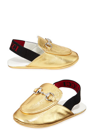 Gucci Princetown Metallic Leather Horsebit Mule Slides, Baby