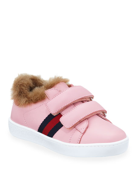 Gucci New Ace Web-Trim Leather Sneakers w/ Faux-Fur