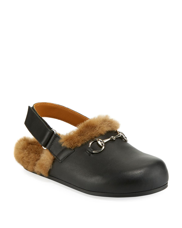 f0bc862bbfa2 Gucci Leather Mule Slides w  Faux Fur Lining