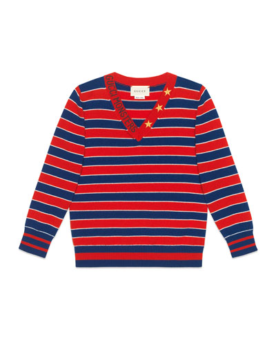Striped V-Neck Gucci Monsters & Stars Wool Sweater  Size 4-12