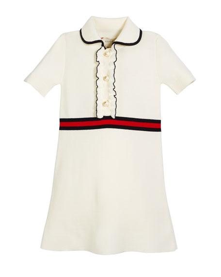 Gucci Web-Trim Short-Sleeve Dress w/ GG Glass Pearls, Size 4-12