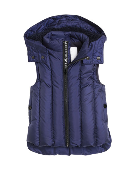 Burberry Armala Quilted Puffer Vest w/ Removable Hood,