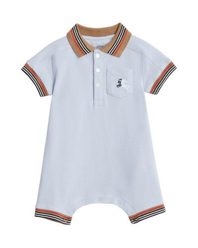Kai Striped-Trim Polo Shortall w/ Hat  Size 1-18 Months