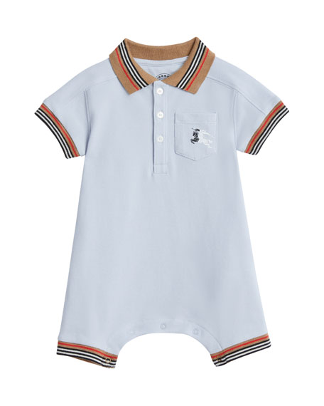 Kai Striped-Trim Polo Shortall w/ Hat, Size 1-18 Months