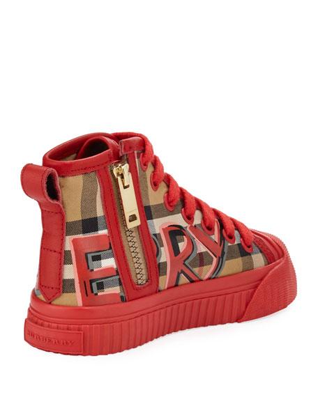 Kingly Graffiti-Logo Check High-Top Sneaker, Toddler