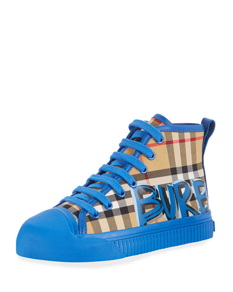 Kingly Graffiti-Logo Check High-Top Sneaker, Toddler/Kids