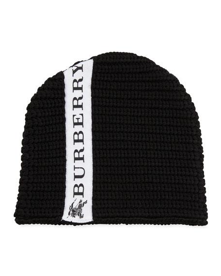 Burberry Kids' Knit Logo-Trim Wool Beanie Hat