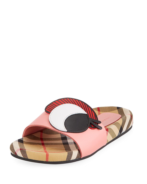7e91080b52e69 Burberry Coslin Googly Eye Check   Leather Slide Sandal