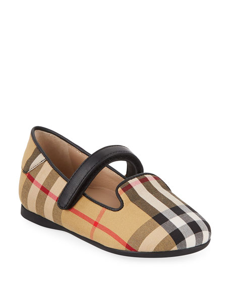 Burberry Ally Cotton Canvas Check Mary Jane, Toddler