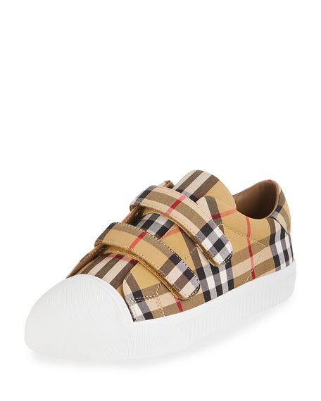 Burberry Belside Vintage Check Canvas Sneakers, Toddler/Kids