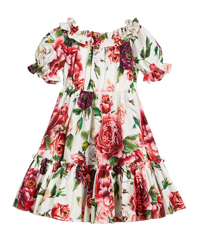 Poplin Peonies-Print Tiered Puffy-Sleeve Dress, Size 8-12