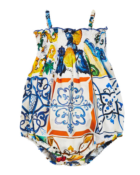 Dolce & Gabbana Maiolica Tile Smocked Bubble Playsuit,