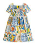 Maiolica-Print Cotton A-Line Dress, Size 8-12