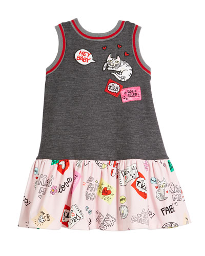 Combo Patches-Print Sleeveless Dress, Size 4-6