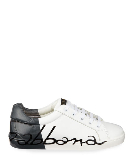 Dolce & Gabbana Two-Tone Leather Logo Sneakers, Kids