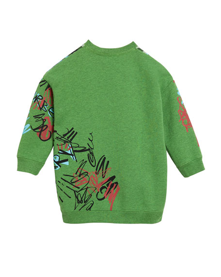 Check & Graffiti Print Sweatshirt Dress, Size 4-14