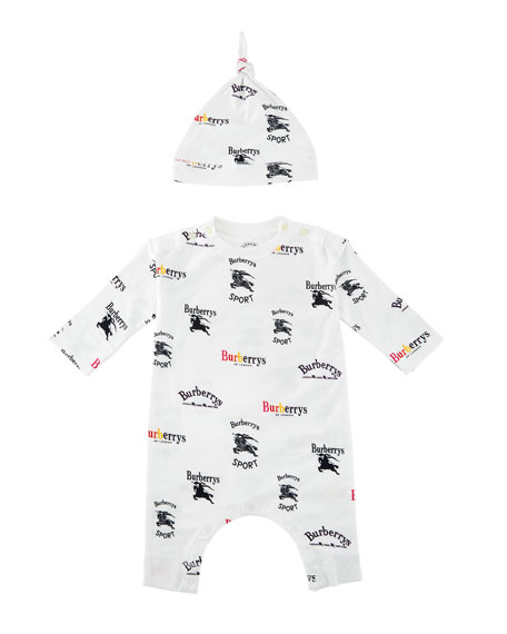 Cotton Long-Sleeve Logo Playset with Hat, Size 1-18 Months