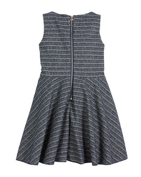 Mara Metallic Striped Fringe-Trim Swing Dress, Size 7-16