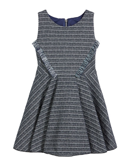 Zoe Mara Metallic Striped Fringe-Trim Swing Dress, Size