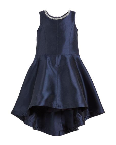 Kate High-Low Matte Sateen Dress w/ Crystal Collar, Size 7-16