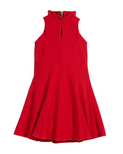 Cleo Crepe Knit Sleeveless Halter Dress, Size 7-16