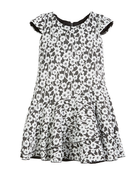 Gaby Textured Knit Floral Cap-Sleeve Dress, Size 4-6X