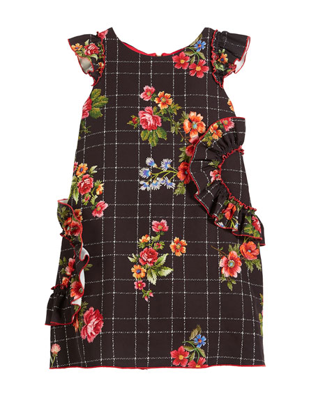 Zoe Blossom-Printed Ruffle-Trim Dress, Size 7-16