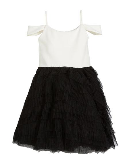 Nikki Draped-Shoulder Dress w/ Ruffle Tulle Skirt, Size 7-16