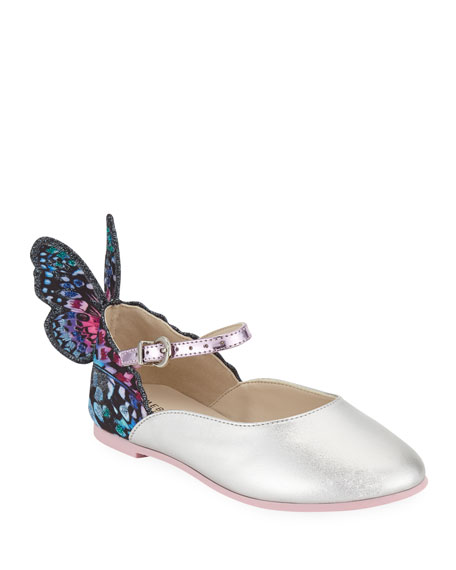 Chiara Leather-Trim Butterfly Mary Jane Flats, Toddler/Kids