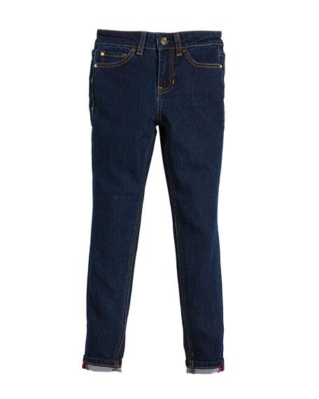 Cotton-Stretch Skinny Jeans, Size 7-14