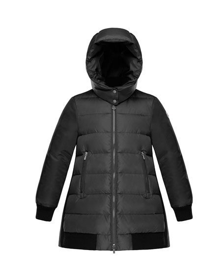 Moncler Blois Quilted Coat w/ Contrast Back, Charcoal, Size 8-14