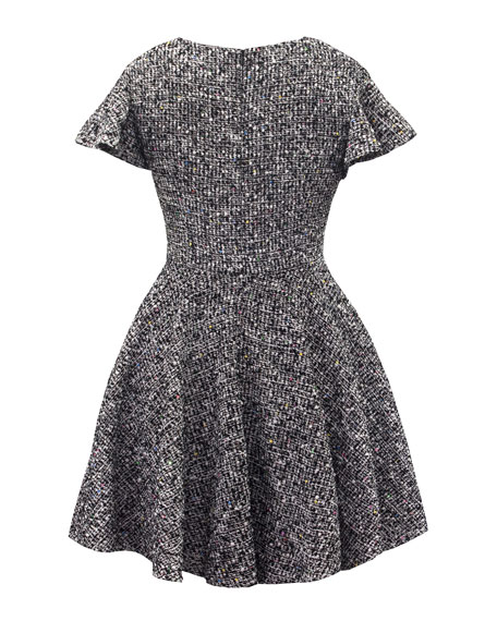 Ruffle-Sleeve Tweed Lurex Dress, Size 10-16
