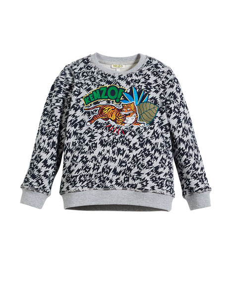 Animal-Print Sweatshirt w/ Logo & Jaguar Patches, Size 8-12