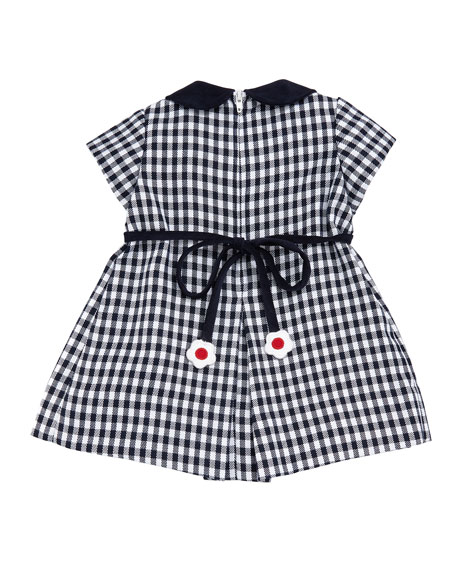 Twill Check Hearts & Flowers Dress, Size 2-4