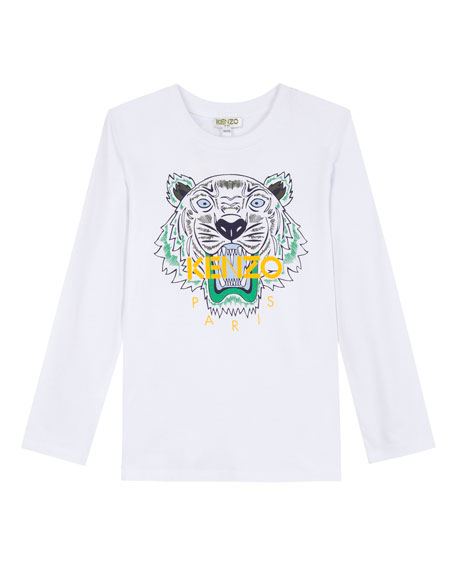 Long-Sleeve Tiger Icon Tee, Size 8-12