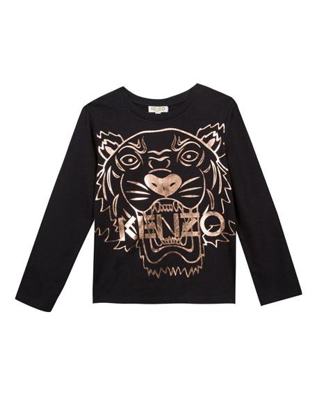 Kenzo Metallic Tiger Face Icon Long-Sleeve T-Shirt, Size 14-16
