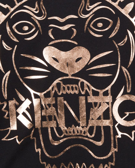 Image 3 of 3: Kenzo Metallic Tiger Face Icon Long-Sleeve T-Shirt, Size 4-6