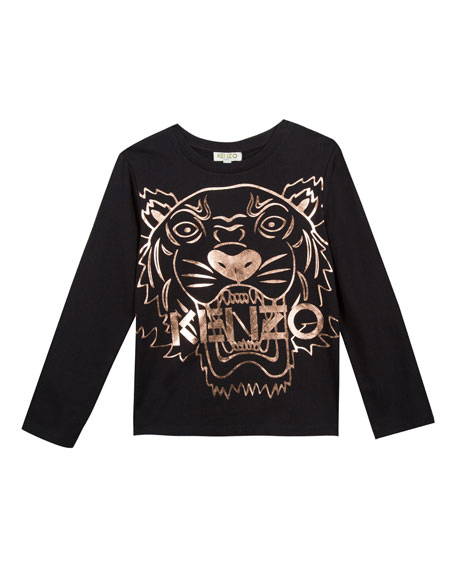 Image 1 of 3: Kenzo Metallic Tiger Face Icon Long-Sleeve T-Shirt, Size 4-6