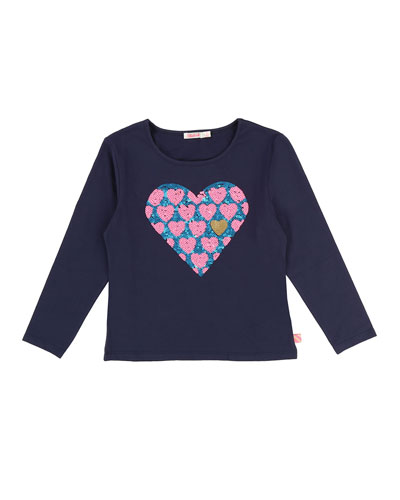 Long-Sleeve Sequin Heart Tee, Size 4-8