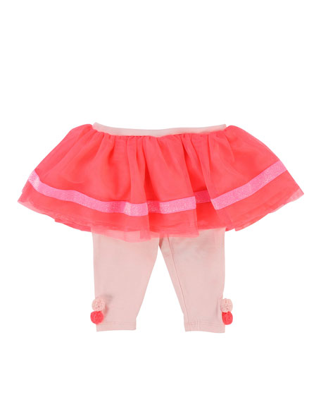 Billieblush Jersey Leggings w/ Attached Tulle Skirt, Size